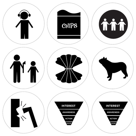 Set Of 9 simple editable icons such as marketing funnel and other different icons on white background.