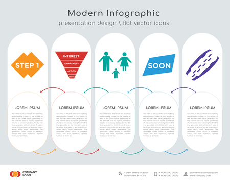 Infographics design vector and step 1, marketing funnel on white background, in black,, family transparent icion on white background, in black,, soon, cholesterol icons can be used for workflow Illustration
