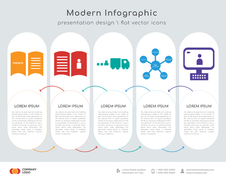 Infographics design vector and french language, user guide, commodities, supply chain, video call icons can be used for workflow layout, diagram, annual report, web design. Business concept with 5 Stock Illustratie