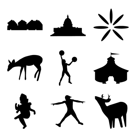 Set Of 9 simple editable icons such as whitetail buck, ninja warrior, ganish, circus tent, ninja warrior,buffering, capitol building, row of houses, can be used for mobile, web UI