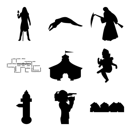 Set Of 9 simple editable icons such as row of houses, cameraman, fire hydrant, ganish, circus tent, vocabulary, reaper, swimmer diving, pharaoh, can be used for mobile, web UI