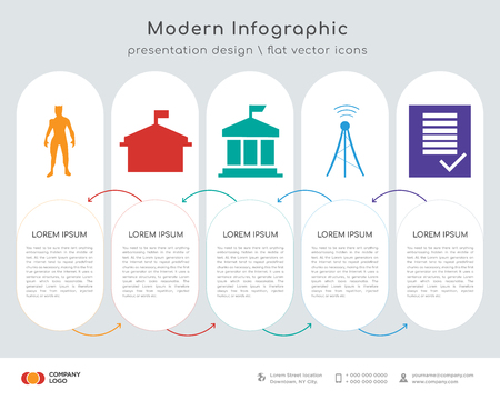 Infographic design template with 5 options 矢量图像