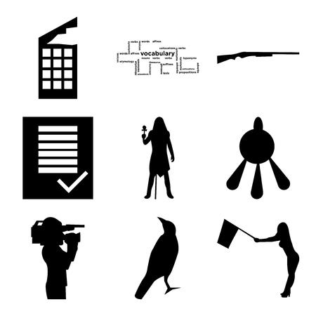 Set Of 9 simple editable icons Ilustração