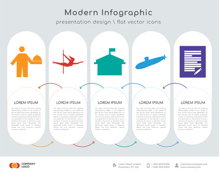 Infographic design template with 5 options Çizim