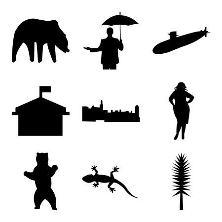 Set Of 9 simple editable icons 矢量图像