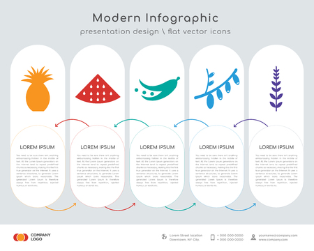Infographics design vector and pineapple, watermelon, soybean, cranberry, sage leaf icons can be used for workflow layout, diagram, annual report, web design. Business concept with 5 steps. Ilustração