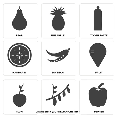 Set Of 9 simple editable icons such as pepper, cranberry (cornelian cherry), plum, Fruit, soybean, mandarin, tooth paste, pineapple, pear, can be used for mobile, web UI