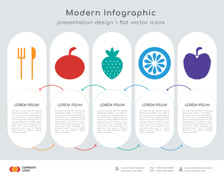 Infographics design vector and fork and knife, Fruit, stawberry, kiwi, apple icons can be used for workflow layout, diagram, annual report, web design.