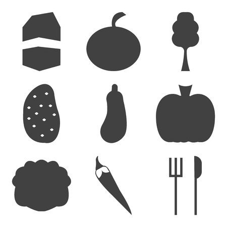 Set Of simple editable icons such as fork and knife, pepper, cabbage, pomegranate, eggplant.