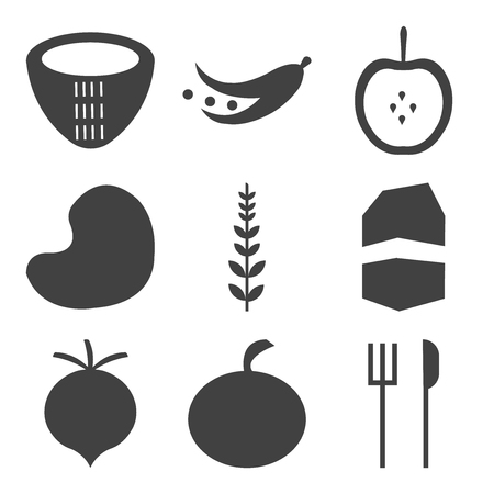 set of 9 simple editable icons such as fork and knife fruit