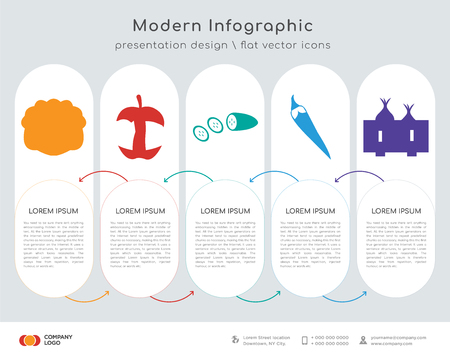 Infographics design vector and cabbage, eaten apple, cucumber, pepper,   icons can be used for workflow layout, diagram, annual report, web design. Business concept with 5 options, steps or