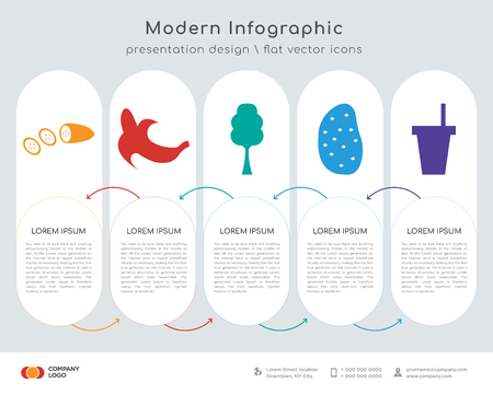 Infographics design vector and cucumber, peeled banana, broccoli, sweet potato, plastic cup icons can be used for workflow layout, diagram, annual report, web design. Business concept with 5 options,
