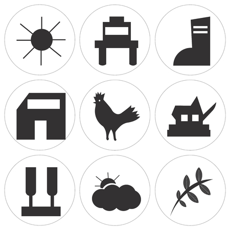 Set Of 9 simple editable icons such as leaf, sun, , can be used for mobile, web UI