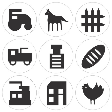 Set Of simple editable icons such as prime mover, bread, stone breaker machine, prime mover, fence, horse, prime mover, can be used for mobile, web UI