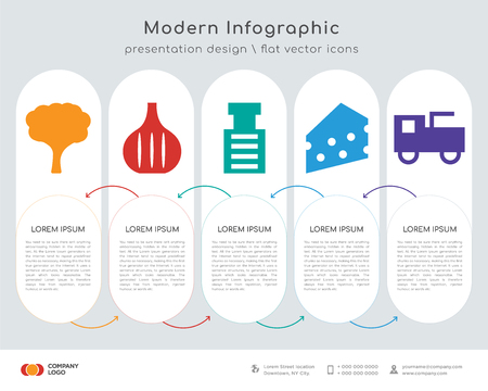 Infographics design vector and tree, stone breaker machine, cheese, prime mover icons can be used for workflow layout, diagram, annual report, web design.