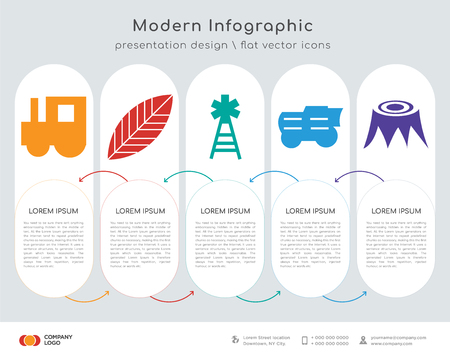 Infographics design vector and tractor, leaf, electricity, , stump icons can be used for workflow layout, diagram, annual report, web design.