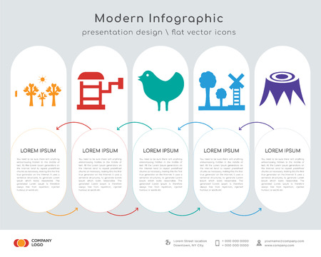 Infographics design vector and tree, , , electricity, stump icons can be used for workflow layout, diagram, annual report, web design.