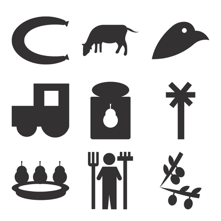 Set Of 9 simple editable icons such as rake, pear, electricity, pear, tractor, cow, , can be used for mobile, web UI Ilustração
