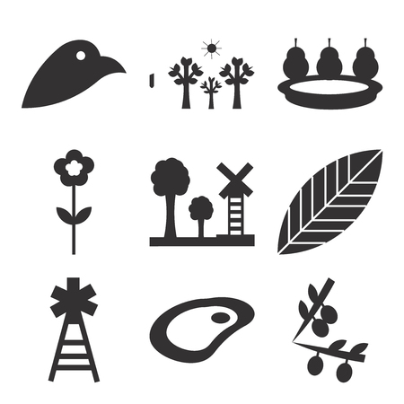 Set Of 9 simple editable icons such as fried egg, electricity, leaf, electricity, flower, pear, tree, , can be used for mobile, web UI
