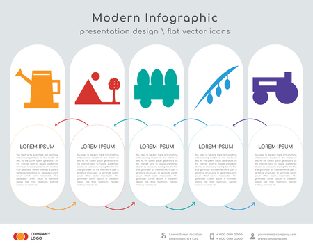Infographics design vector and  , tree, fence, olive, prime mover icons can be used for workflow layout, diagram, annual report, web design. Business concept with 5 options, steps or
