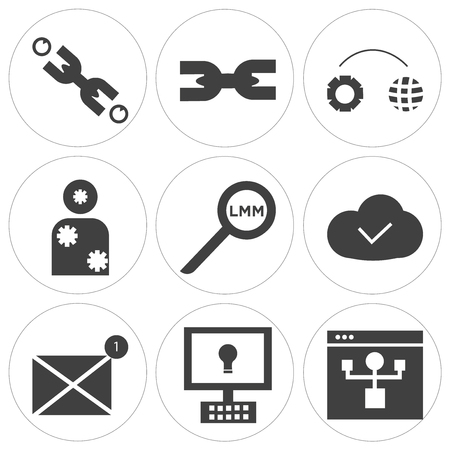 Set Of 9 simple editable icons such as benefits of computer, weather, search, frozen system, setting world, chain, chain, can be used for mobile, web UI