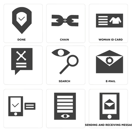 Set Of 9 simple editable icons such as sending and receiving messages, e-mail, search, woman id card, chain, done, can be used for mobile, web UI Banque d'images - 100213340