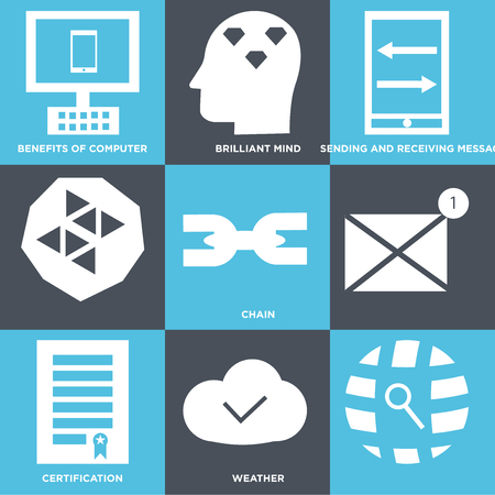 Set Of 9 simple editable icons such as weather, certification, chain, sending and receiving messages, brilliant mind, benefits of computer, can be used for mobile, web UI