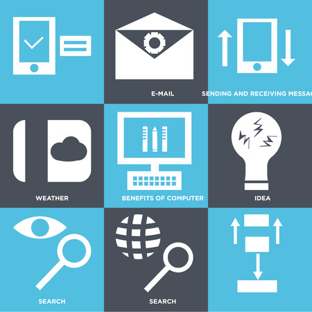 Set Of 9 simple editable icons such as search, search, idea, benefits of computer, weather, sending and receiving messages, e-mail, , can be used for mobile, web UI