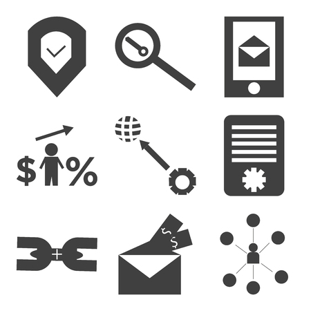 Set Of 9 simple editable icons such as communication, chain, setting world, dollar, sending and receiving messages, search, done, can be used for mobile, web UI