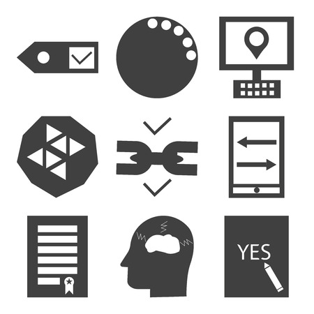Set Of 9 simple editable icons such as yes, frustration, certification, sending and receiving messages, chain, benefits of computer, , can be used for mobile, web UI