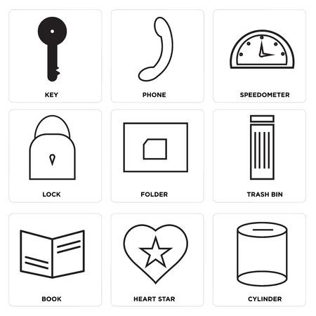 Set Of 9 simple editable icons Illustration