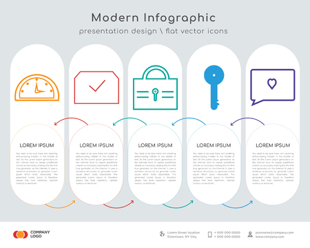 Infographics design vector and speedometer, verified, lock, key, love comment icons can be used for workflow layout, diagram, annual report, web design. Business concept with 5 options, steps or