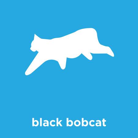 Black bobcat icon isolated on blue background, vector illustration