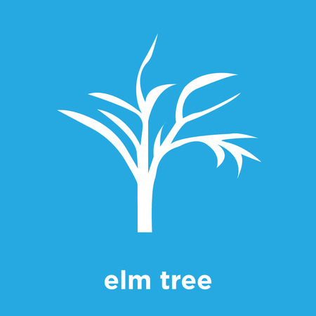 Elm tree icon isolated on blue background, vector illustration 일러스트