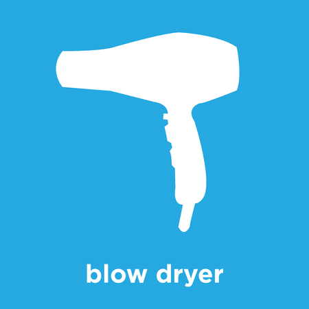 Blow dryer icon isolated on blue background, vector illustration Illustration