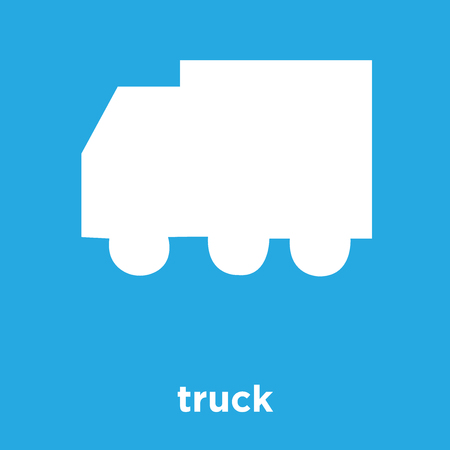 truck icon isolated on blue background, vector illustration