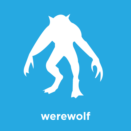 werewolf icon isolated on blue background, vector illustration Vettoriali