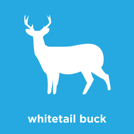 whitetail buck icon isolated on blue background, vector illustration Stock Vector - 100393462