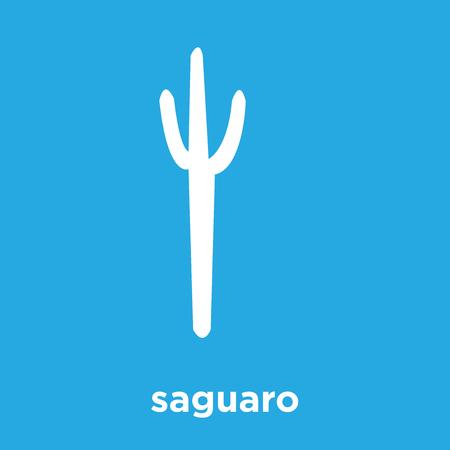 saguaro icon isolated on blue background, vector illustration
