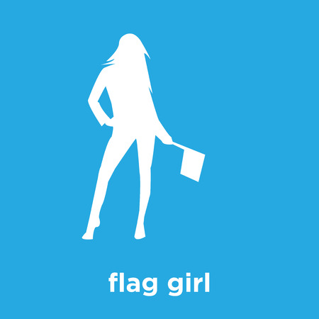 flag girl icon isolated on blue background, vector illustration