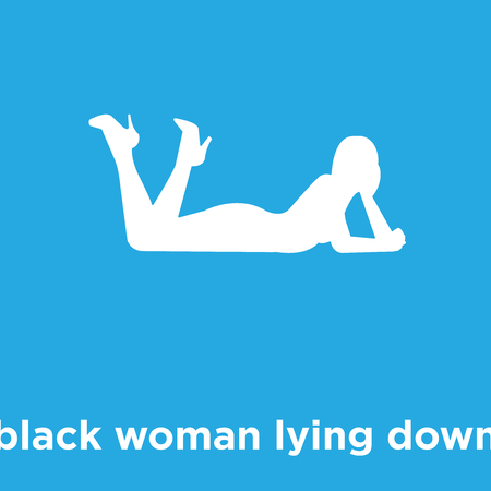 black woman lying down icon isolated on blue background, vector illustration