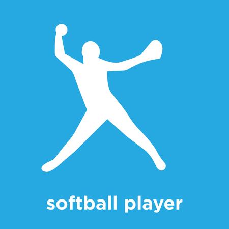 Softball player icon isolated on blue background, vector illustration. Illustration