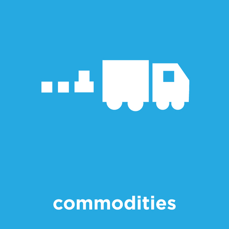 Commodities icon isolated on blue background, vector illustration.
