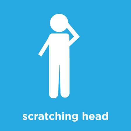 scratching head icon isolated on blue background, vector illustration