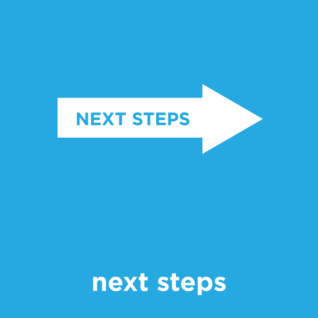 next steps icon isolated on blue background, vector illustration