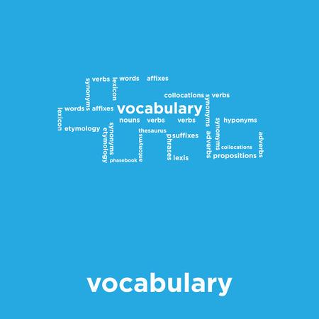 Vocabulary icon isolated on blue background, vector illustration. Ilustração