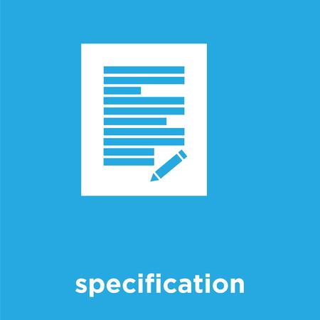 specification icon isolated on blue background, vector illustration Çizim