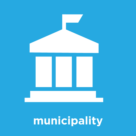 municipality icon isolated on blue background, vector illustration