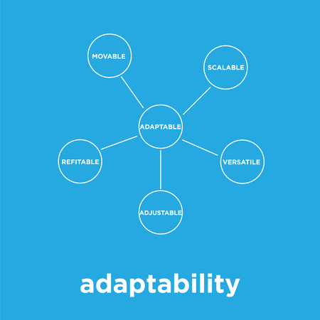 adaptability icon isolated on blue background, vector illustration