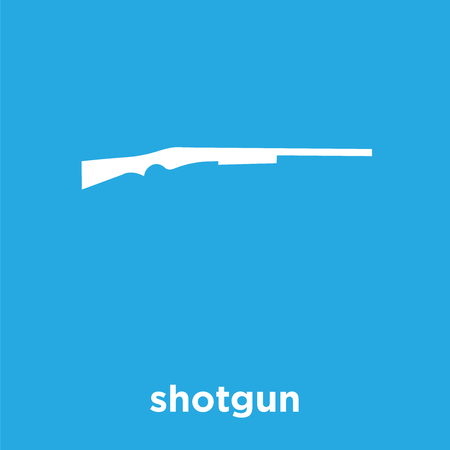 shotgun icon isolated on blue background, vector illustration